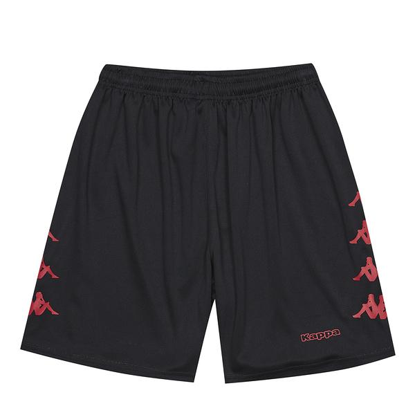 KAPPA義大利中性針織吸濕排汗半短褲(左右無口袋) 黑 紅31199TWA0Y