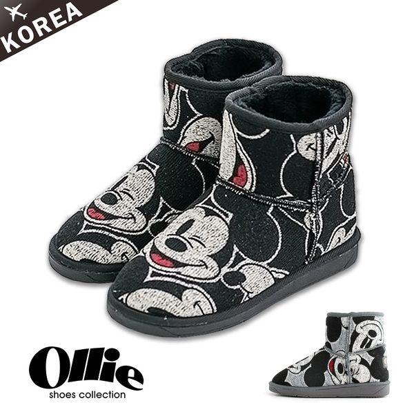 ★現貨★【F720257】雪靴 正韓製OLLIE迪士尼授權限量眨眼米奇滿版低筒雪靴2色現