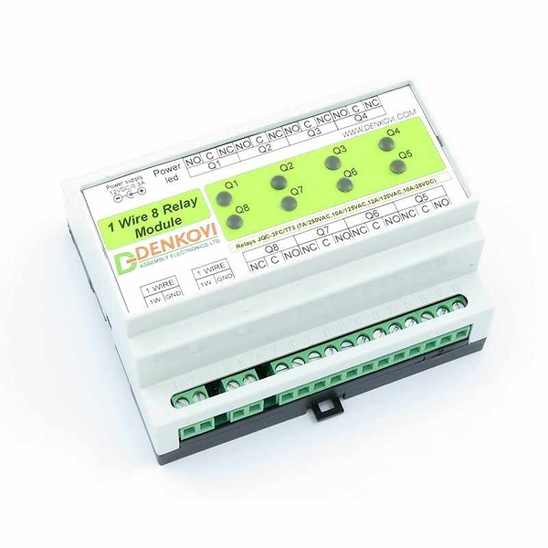 Denkovi 1-Wire 8通道繼電器模塊板 Based on Dallas DS2408 chipset, DIN Rail Box 12VDC [2美國直購]