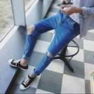 找到自己品牌 時尚潮流 男 膝蓋大破洞 牛仔褲 九分褲 直筒褲