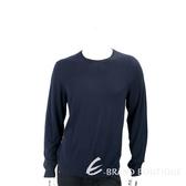 BURBERRY 喀什米爾羊毛混紡深藍色格紋細節針織衫 1710969-34