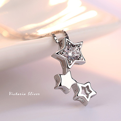 S925銀 優雅的名媛氣質三星 項鍊-維多利亞180812