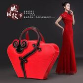 紅色結婚包包復古旗袍包中國風民族風手提包