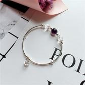 天然紫水晶手鍊S925銀手鐲草莓晶灰月光招桃花轉運助學業閨蜜禮物
