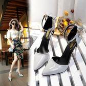 正韓2018夏季新款涼鞋高跟鞋淺口單鞋中跟尖頭細跟一字帶女鞋鞋子三角衣櫥