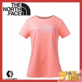 【The North Face 女 FlashDry短袖圓領快排衫《粉橘》】3GCG/排汗衣/運動短袖/圓領T恤