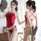 性感情趣內衣小胸肚兜睡衣制服誘惑三點式用品透視裝激情套裝女騷 草莓妞妞