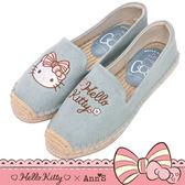 HELLO KITTY X Ann'S花園小仙子不對稱刺繡平底草編鞋-藍