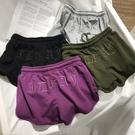 紫色褲子女夏季運動褲刺繡a字短褲高腰軍綠色闊腿褲寬鬆休閒熱褲