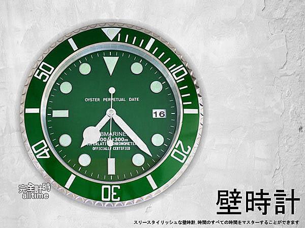 【完全計時】手錶館│SUBMARINER 獨家典藏 簡約經典名品設計 綠色水鬼夜光 掛鐘壁鐘現貨