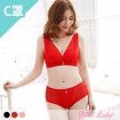 【C罩杯】無鋼圈內衣 經典時尚 薄襯成套內衣9256(黑、桔、紅)-Pink Lady