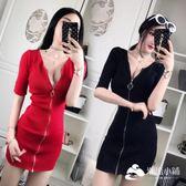 性感洋裝 2017新款性感低胸V領五分袖拉鏈緊身包臀針織連衣裙
