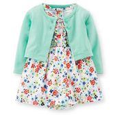 【美國Carter's】套裝2件組-粉嫩繽紛小碎花包屁式洋裝+小外套 121D215
