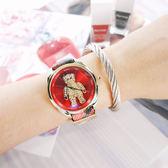 Vivienne Westwood / VV103RDBR / Crazy Bear 狂歡泰迪熊 晶鑽點綴 格紋 皮革手錶 紅x金框 38mm