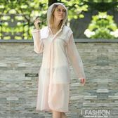 成人雨衣女式長款戶外徒步登山旅游透明帽檐時尚包邊防水雨披-Ifashion