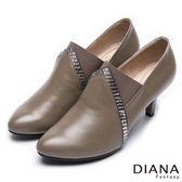DIANA 漫步雲端LADY 款風靡魅力排鑽拼接真皮踝靴拿鐵~零碼 只供退貨恕無法換貨~
