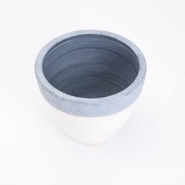 諾曼圓形陶盆 白
