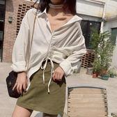 長袖襯衣 韓國chic氣質單排扣側邊綁帶設計寬鬆優雅純色長袖襯衫女外搭 童趣潮品