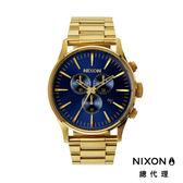 NIXON 手錶 原廠總代理 A386-1922 SENTRY CHRONO 金藍 潮流時尚鋼錶帶 男女  生日 情人節禮物