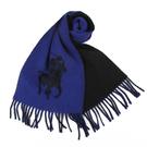 POLO RALPH LAUREN經典馬球大圖紋羊毛圍巾(黑/藍)780907-3