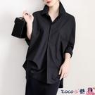 熱賣垂感襯衫 冷淡風復古垂感黑色襯衫女寬鬆長袖慵懶秋外套港味小眾設計感襯衣 coco