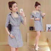 夏天小清新條紋襯衫裙女2018韓版夏季新款矮個子短袖顯瘦連身裙潮  Cocoa