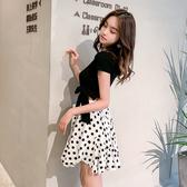 出清388 韓系v領腰部綁帶針織上衣波點裙套裝短袖裙裝