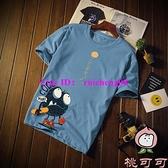 日系印花短袖t恤男士寬鬆純棉大碼半袖中學生夏季【桃可可服飾】
