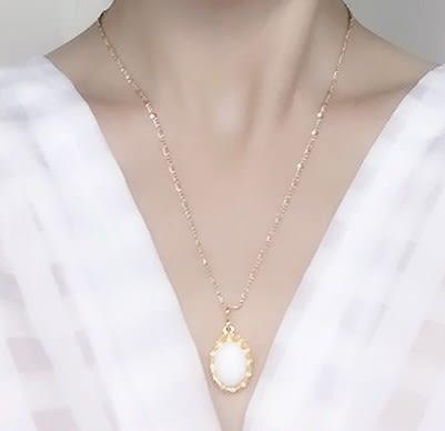 [協貿國際]天然硨磲鑲嵌橢圓形吊墜鍍24K金鍊單條價