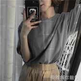 棉麻上衣夏裝韓版女裝百搭寬鬆圓領套頭棉麻短袖t恤純色中長款打底衫上衣 貝芙莉
