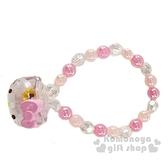 〔小禮堂〕Hello Kitty 兒童大臉造型壓克力串珠手鍊《粉白》造型手環.首飾 4901610-06284