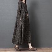 春裝新品1件85折 2020新款民族風 大碼文藝森系復古長裙 碎花連身裙-不含配飾