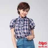 BOBSON 女款前襟荷葉短袖襯衫(藍紫24135-53)