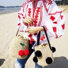 草編包包沙灘編織草包新款手提女包櫻桃黑球球日韓時尚休閒水桶包DSHY