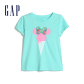 Gap女幼Gap x Disney 迪士尼系列米妮棉質舒適印花圓領T恤555662-冰藍色