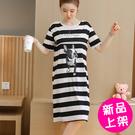 【1710-0706】條紋圖案長款短袖哺乳裙 連身裙 (黑/L.XL)