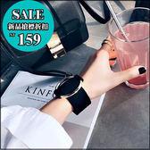 克妹Ke-Mei【AT31174】歐美秋冬龐克時尚金屬圓釦環誇張復古皮質寬版手環