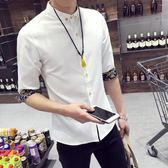 夏季白短袖襯衫男士修身學生韓版7七分袖襯衣服中袖潮流寸衫帥氣 時尚潮流