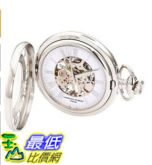 [美國直購] 手錶 Charles-Hubert, Paris 3928 Classic Collection Chrome Finish Brass Mechanical Pocket Watch