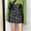 2019秋季新款韓版拉鏈A字短裙高腰顯瘦黑色半身裙包臀皮裙子女