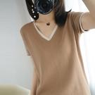 棉麻T恤 棉麻正韓針織短袖女v領寬鬆夏季t恤半袖上衣大碼薄款衫-Ballet朵朵