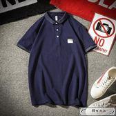 polo衫夏季復古上衣男士加肥大碼半袖情侶短袖T恤韓版潮男裝