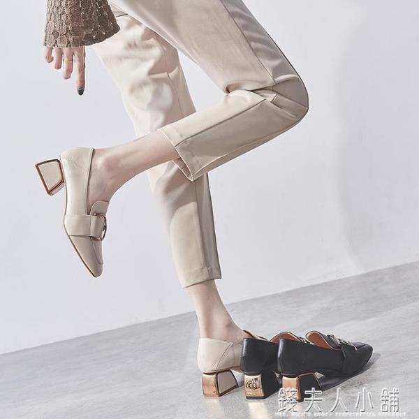 粗跟單鞋女鞋新款秋鞋網紅高跟鞋百搭英倫風小皮鞋中跟樂福鞋 錢夫人