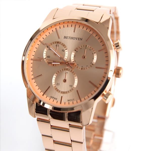 手錶 仿三眼玫金刻度鐵帶腕錶 中性款式 情侶對錶 柒彩年代【NE1965】單支