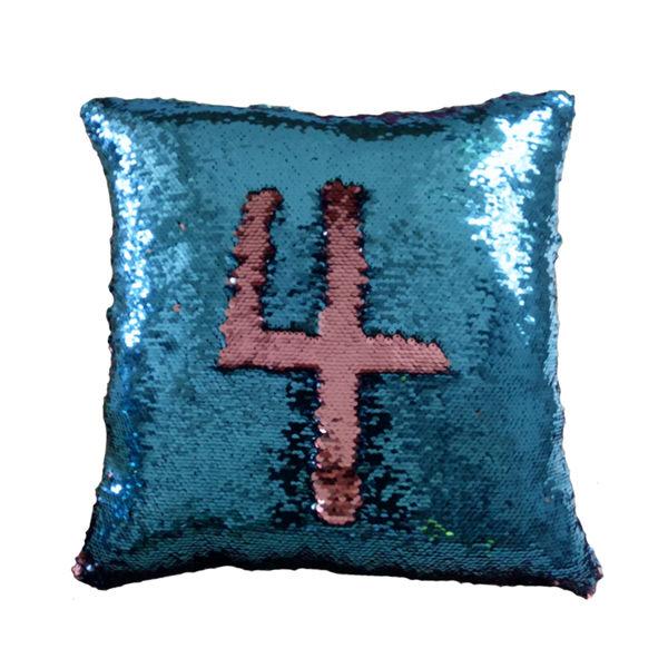 【快樂家】魔法DIY創意雙色亮片方型抱枕 (紅色+金色)