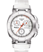 TISSOT 天梭 T-RACE LADY 計時陶瓷真鑽手錶-白/36mm T0482172701600
