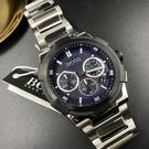 星晴錶業-BOSS伯斯男錶,編號HB1513360,46mm黑, 銀錶殼,銀色錶帶款