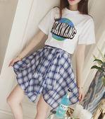 ★現貨★短袖裙裝 兩件式地球棉T+綁帶格紋裙(藍) 小豬兒 Mini Jule【KTA81008356】現貨+預購