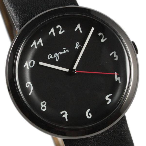 【萬年鐘錶】agnes b.法式簡約時尚風腕錶 黑皮帶 黑殼 黑面 白字   36mm VJ21-KK50C(BH8031X1)