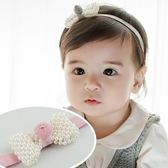 UNICO 韓版 兒童可愛珍珠蝴蝶結造型髮帶
